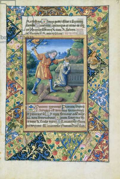 Ms Lat. Q.v.I.126 fol.19 The sacrifice of Isaac, from 'Book of Hours of Louis d'Orleans', 1490 (vellum)