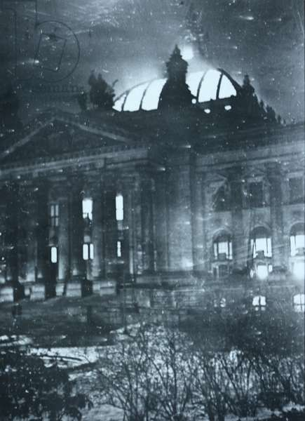 The Burning of the Reichstag building, 1933 (b/w photo)