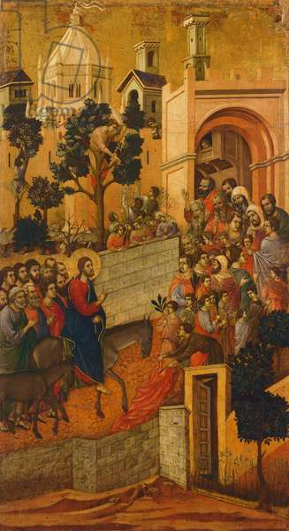 Christ's entry into Jerusalem, detail of tile from Episodes from Christ's Passion and Resurrection, reverse surface of Maesta' of Duccio Altarpiece in the Cathedral of Siena, 1308-1311  (tempera on wood)