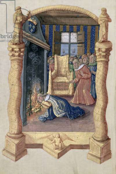 Ms Lat. Q.v.I.126 f.66v David mourning the death of his son Absalom, from the 'Book of Hours of Louis d'Orleans', 1469 (vellum)