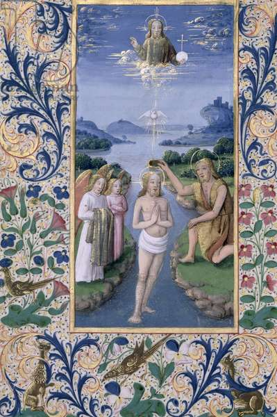 Ms Lat. Q.v.I.126 f.88v Baptism of Christ, from the 'Book of Hours of Louis d'Orleans', 1469 (vellum)