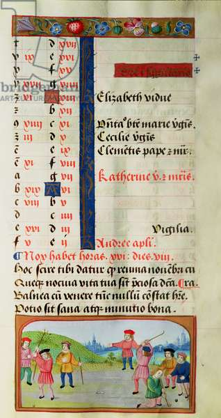 November: Game of Golf, from a Book of Hours (vellum)
