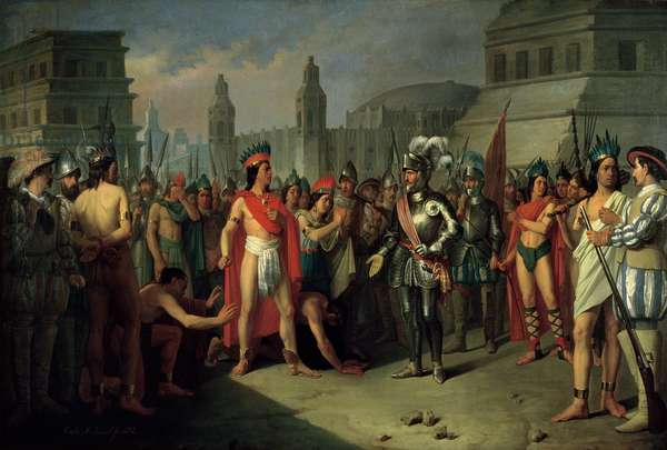 The Imprisonment of Guatimocin by the Troops of Hernan Cortes, 1856 (oil on canvas)