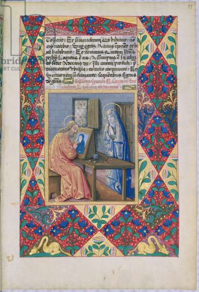 Ms Lat. Q.v.I.126 f.99 St. Luke painting the Virgin Mary, from the 'Book of Hours of Louis d'Orleans', 1469 (vellum)
