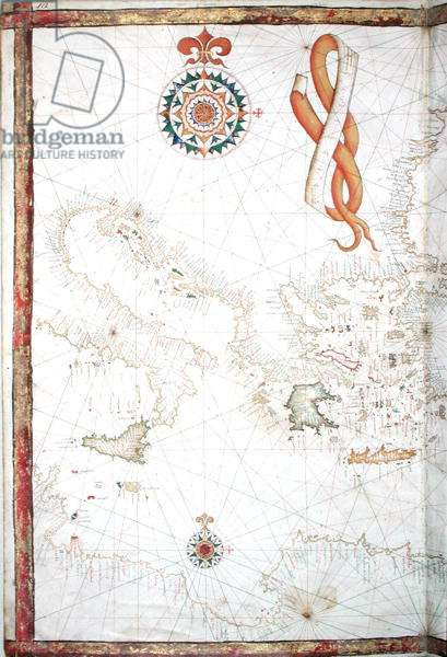 Italy, Greece and the Cyclades, detail from a world atlas, 1565 (vellum)