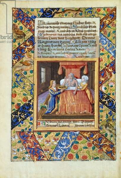 Ms Lat. Q.v.I.126 fol.19v Isaac blessing Jacob, from 'Book of Hours of Louis d'Orleans', 1490 (vellum)