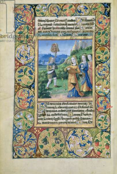 Ms. Lat. Q.v.I.126 fol.34v  David with the head of Goliath, from the 'Book of Hours of Louis d'Orleans', 1490 (vellum)