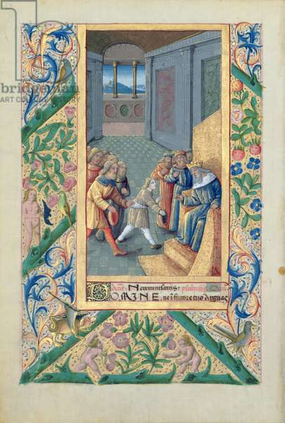 Ms Lat. Q.v.I.126 f.53v David being sent to Saul, from the 'Book of Hours of Louis d'Orleans', 1469 (vellum)