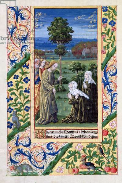 Ms Lat. Q.v.I.126 f.69v Martha and Mary telling Jesus of the death of Lazarus, from the 'Book of Hours of Louis d'Orleans', 1469 (vellum)