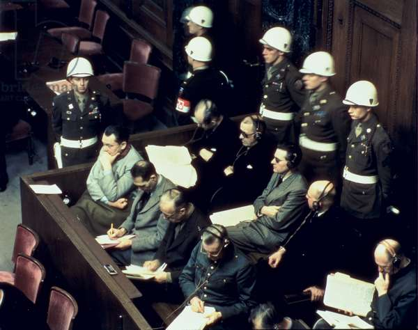 Hermann Goering (1893-1946), Rudolf Hess (1894-1987), Joachim von Ribentrop (1893-1946) and Wilhelm Keitel (1882-1946) at the Nuremberg Trials, 1945-46 (photo)