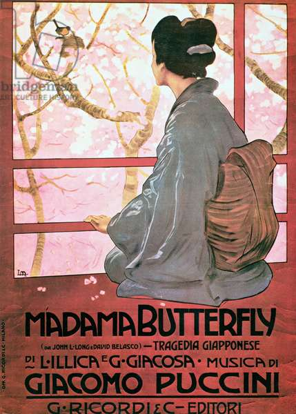Frontispiece of the score sheet for 'Madame Butterfly' by Giacomo Puccini (1858-1924) (colour litho) (see also 56537)