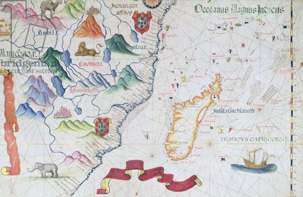 Madagascar and East African Coastline, detail from a world atlas, 1565 (vellum)