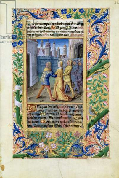 Ms Lat. Q.v.I.126 f.45 Judith being seized by the Assyrians, from the 'Book of Hours of Louis d'Orleans', 1490 (vellum)