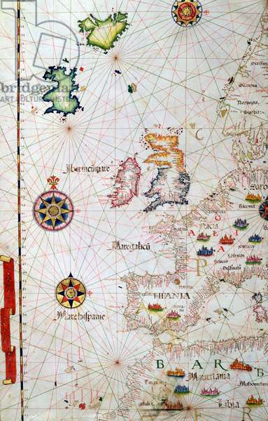 The British Isles, Iberia and Northwest Africa, detail from a world atlas, 1565 (vellum)