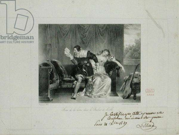 The Letter Scene from the opera 'The Barber of Seville' by Rossini engraved by Villain de Sevres (litho)