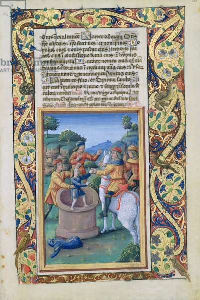 Ms Lat. Q.v.I.126 fol.20 Joseph being retrieved from the well and sold to the Ishmaelites, from the 'Book of Hours of Louis d'Orleans', 1490 (vellum)