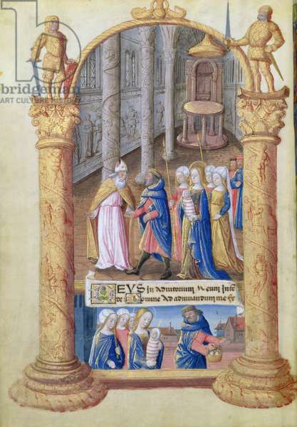 Ms. Lat. Q.v.I.126 fol.33v Presentation of the Christ Child in the temple, from the 'Book of Hours of Louis d'Orleans', 1490 (vellum)