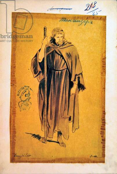 Costume Design for the role of Tannhauser, in the opera 'Tannhauser', by Richard Wagner (1813-83) (w/c & ink on paper)