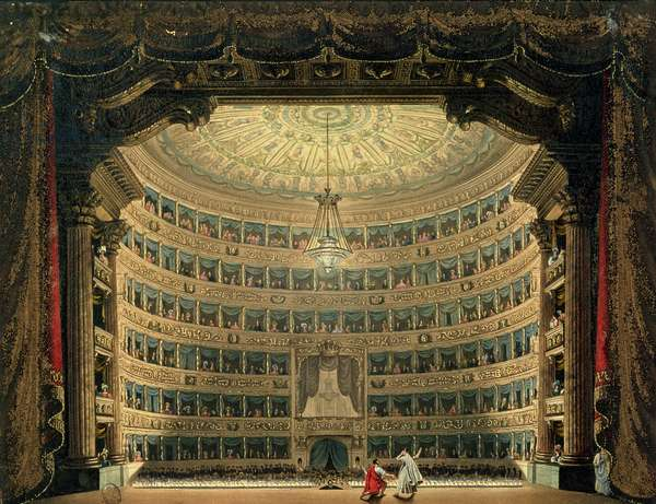 La Scala, Milan, during a performance (w/c on paper)