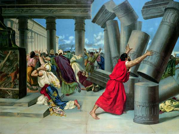 Samson and Delilah and the destruction of the Temple (colour litho)