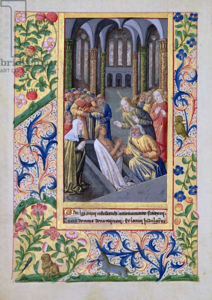 Ms Lat. Q.v.I.126 f.70v Raising of Lazarus, from the 'Book of Hours of Louis d'Orleans', 1469 (vellum)