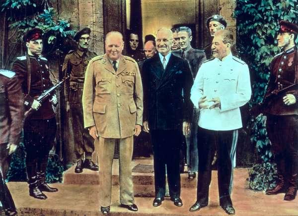 Winston Churchill (1874-1965) President Truman (1884-1972) and Joseph Stalin (1879-1953) at the Potsdam Conference, July 1945 (coloured photo)