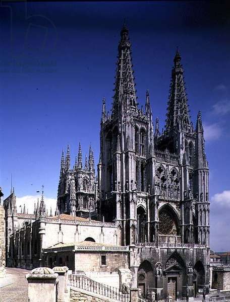 View of the West Facade, consecrated in 1260, the upper stages and spires added by Juan de Colonia in 1442-58 (photo)