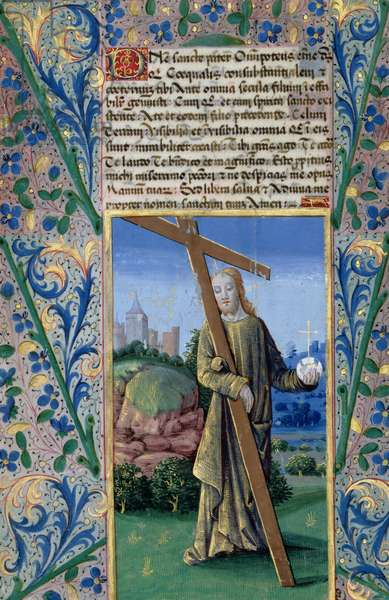 Ms Lat. Q.v.I.126 f.89v Christ with the Cross and the orb, from the 'Book of Hours of Louis d'Orleans', 1469 (vellum)