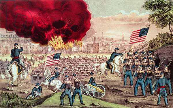 The Capture of Atlanta by the Union Army, 2nd September, 1864 (colour litho)
