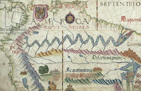 Northern South America, detail from a world atlas, 1565 (vellum)