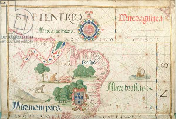 Mouth of the Amazon, Brazil, detail from a world atlas, 1565 (vellum)