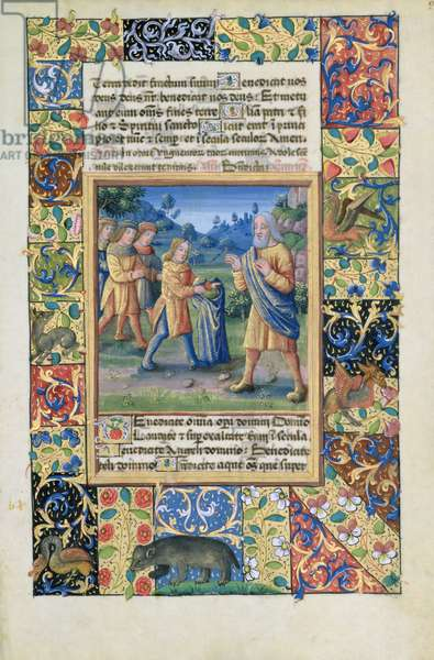 Ms. Lat. Q.v.I.126 fol.21 Joseph's brothers showing their father proof that Joseph is dead, from the 'Book of Hours of Louis d'Orleans', 1490 (vellum)