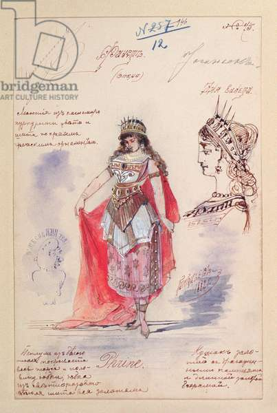 Costume designs for the role of Phrine in the opera 'Faust', by Charles Gounod (1818-93) 1882 (gouache & pen on paper)