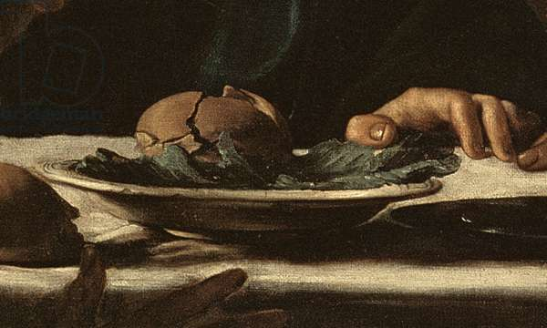 Detail of dish from Supper at Emmaus, 1606 (oil on canvas)