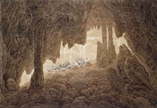 Skeleton in the Cave (sepia ink and pencil on paper)