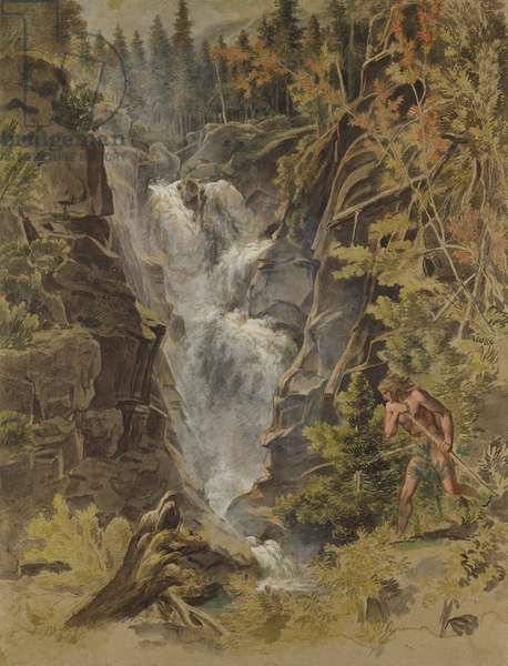 The Reichensbach Falls in Meiringen, 1792-93 (gouache on paper) (see also 141497)