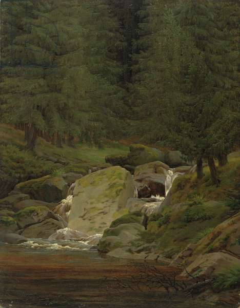 The Evergreens by the Waterfall (oil on canvas)