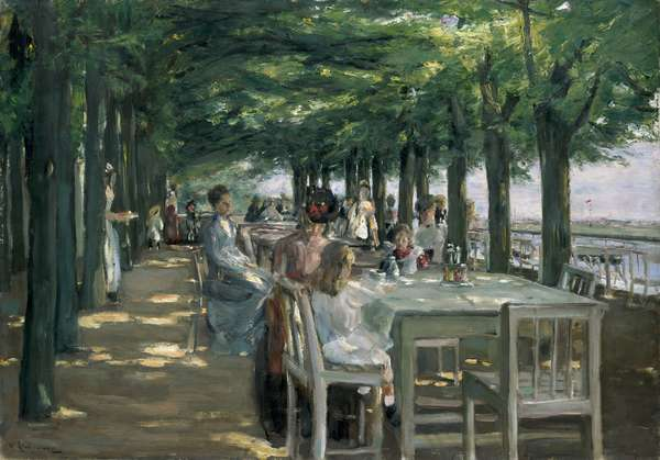 The Terrace at the Restaurant Jacob in Nienstedten on the Elbe, 1902 (oil on canvas)