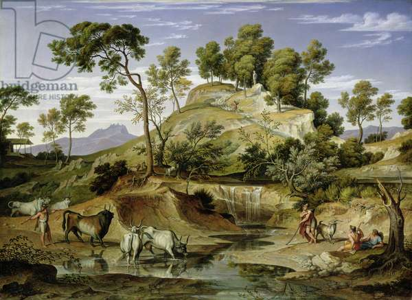 Landscape with Shepherds and Cows and at the Spring, 1832-34 (oil on canvas)