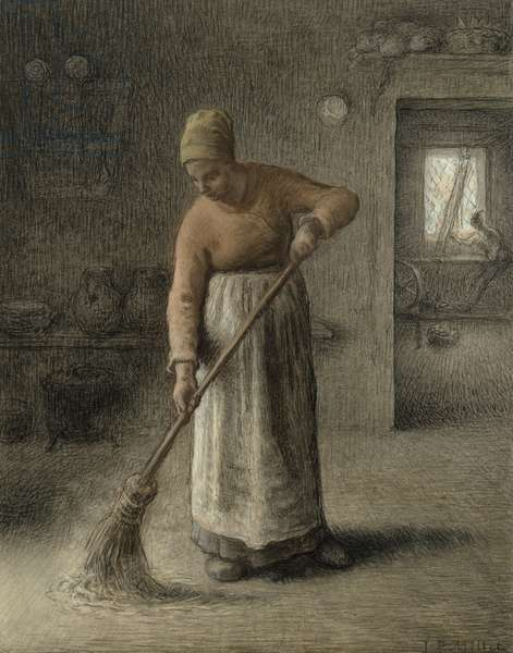A Farmer's wife sweeping, 1867 (pastel on brown paper)