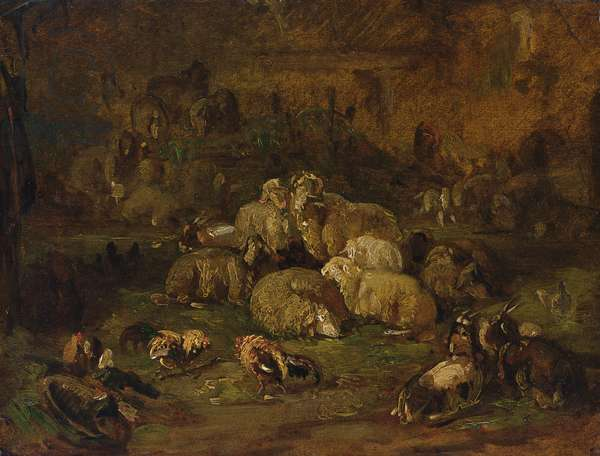 Sheep, Goats and Chickens (oil on paper laid down on canvas)
