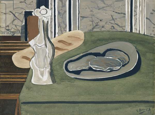 Still Life With Bread, Oysters And A Carafe, 1937 (oil on canvas)