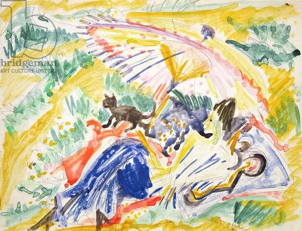 Sunbathing, 1919 (w/c over pencil on paper)