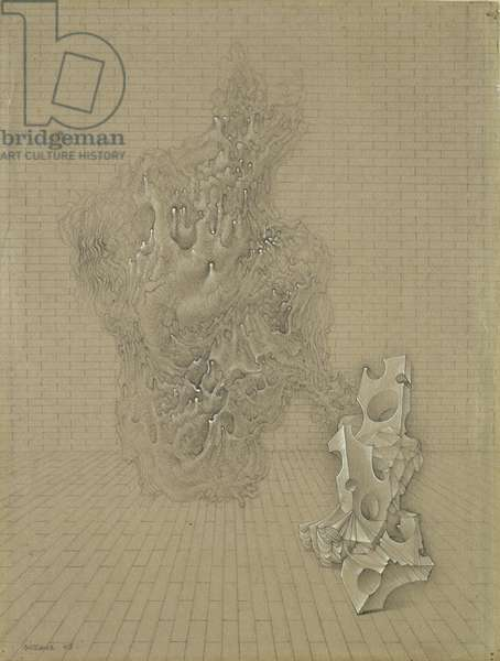 Forms, 1943 (pencil and opaque white on brown hand made paper)