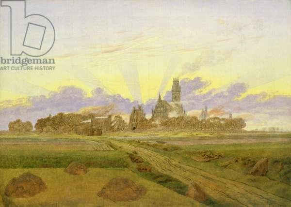 Dawn at Neubrandenburg (oil on canvas)