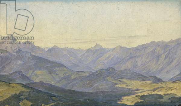 Mountain Valley in Oberbayern, 1829 (oil on paper)