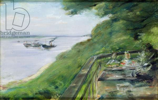 The Terrace at Jacob's Restaurant in Nienstedten-an-der-Elbe, 1902 (pastel on paper)