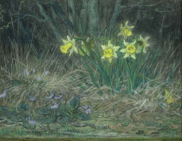 Narcissi and Violets, c.1867 (pastel on paper)