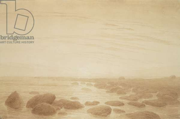 Moonrise on the Sea (Sunset across the Sea) (sepia ink and pencil on paper)