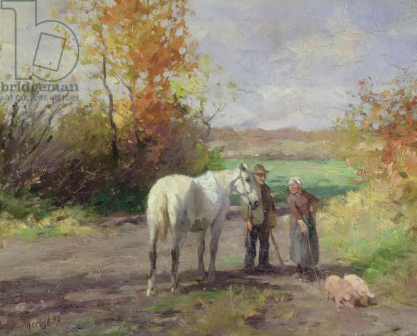 Encounter on the Way to the Field, 1897 (oil on panel)